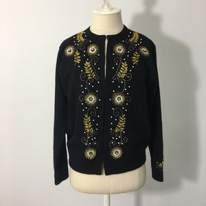 Vintage Cardigan Sweater W/Beautiful Beaded Detail